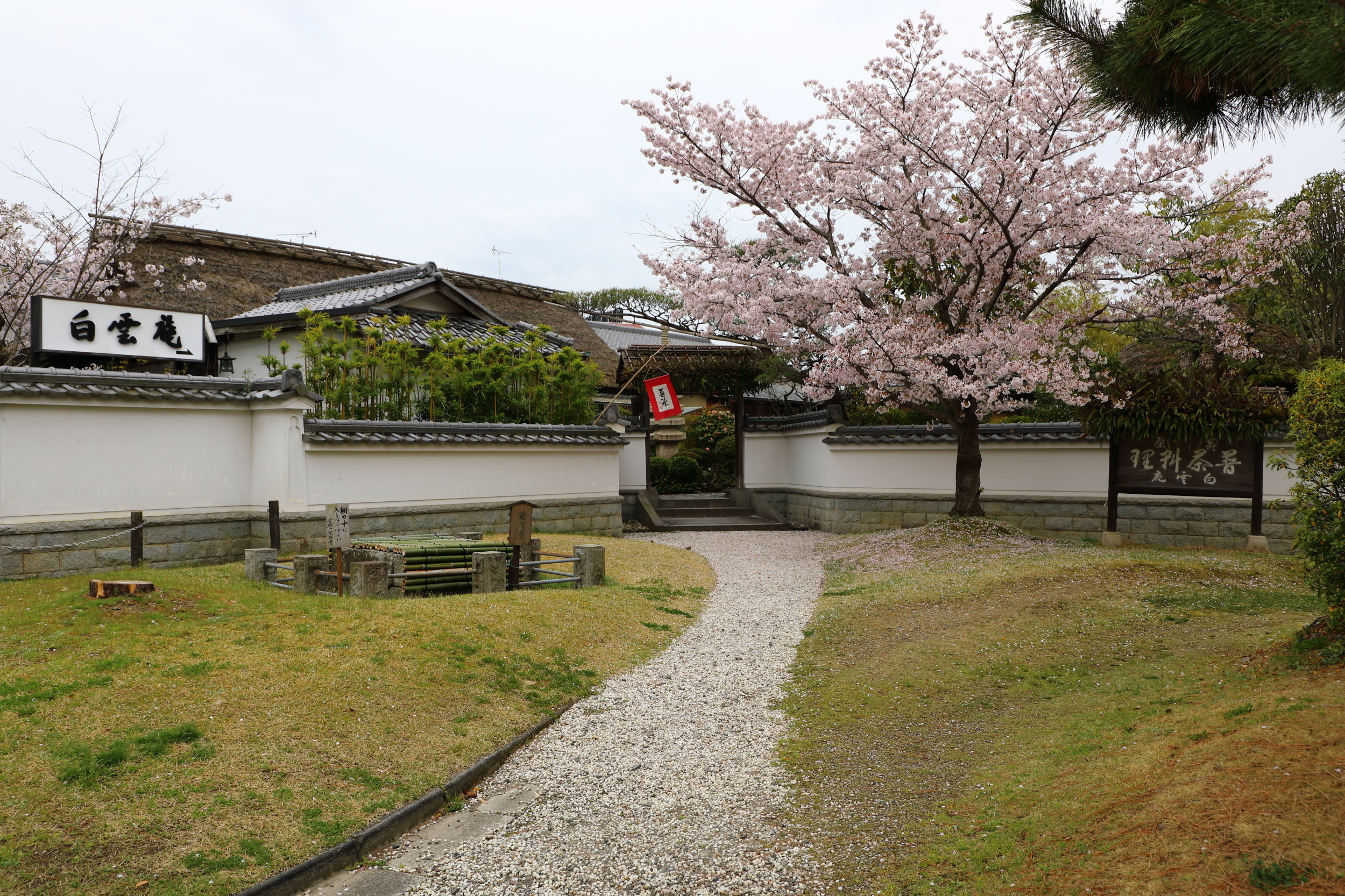 The entrance to Hakuun-an is across a small park located across the street from the main gate of Manpuku-ji Temple.