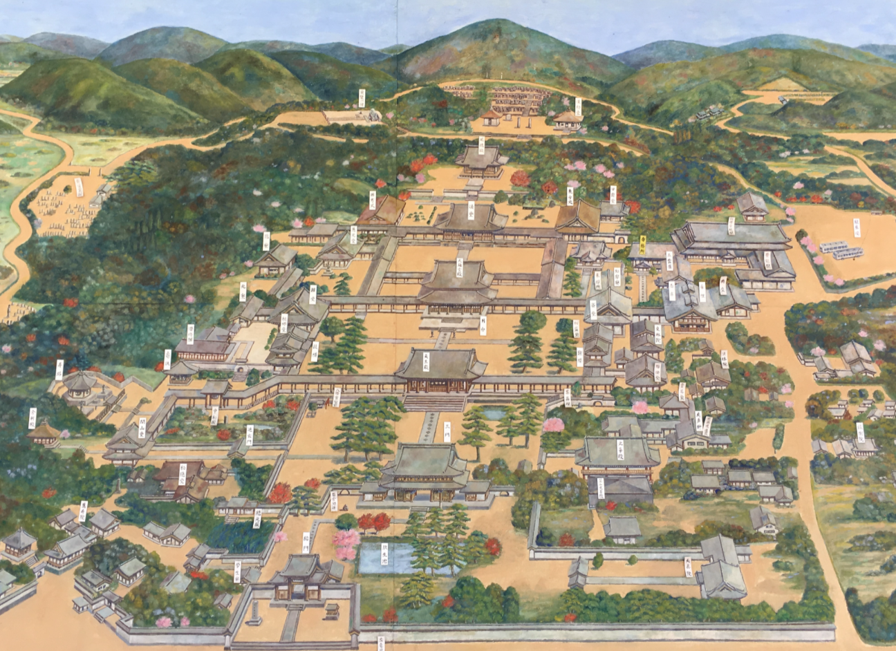 The layout of the Manpuku-ji temple complex.