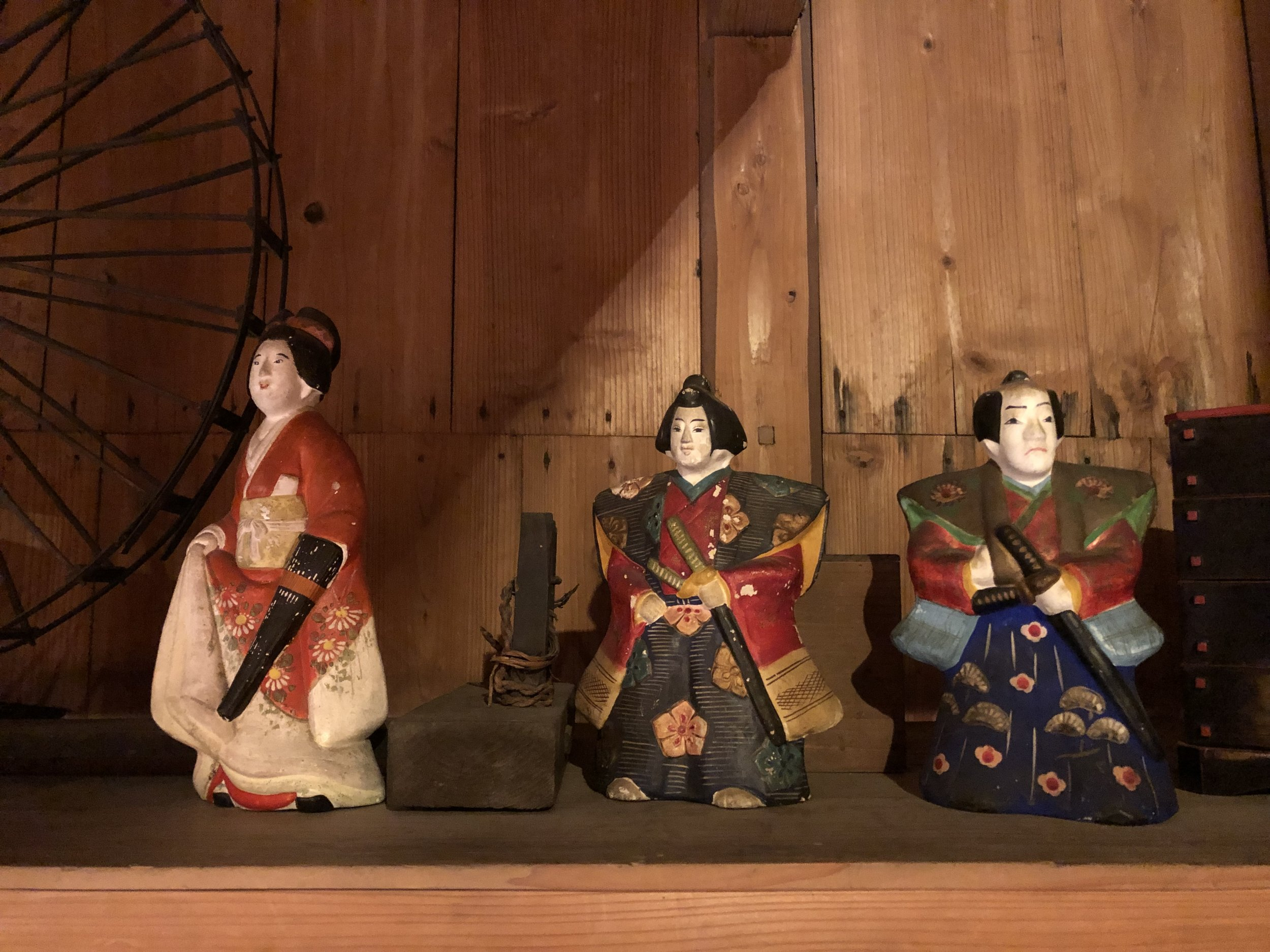 Antique Paper Mache (Hariko) Merchant Dolls
