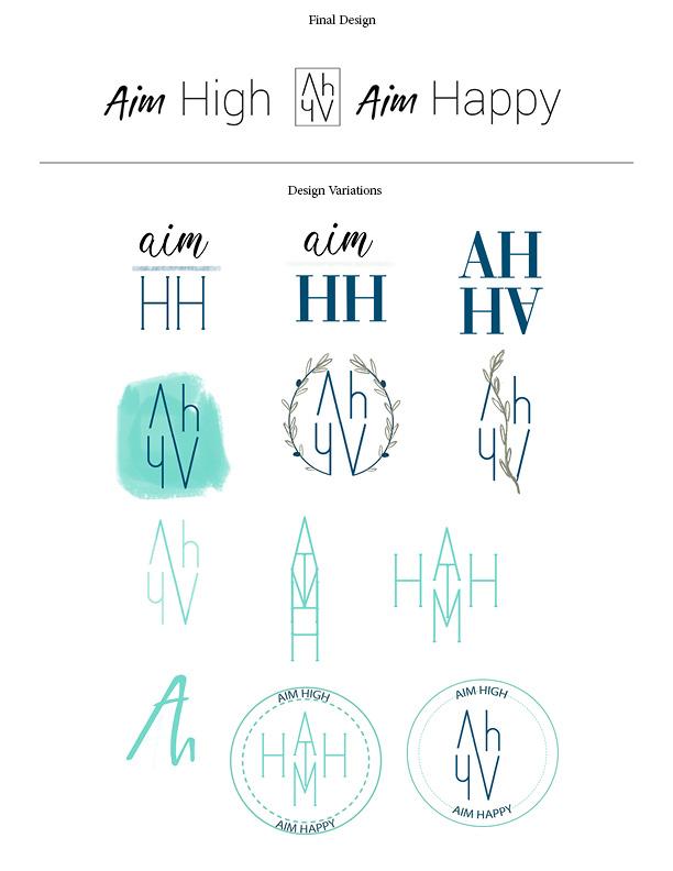 Logo Design and Variations  AHAH: Aim High Aim Happy Subscription Box