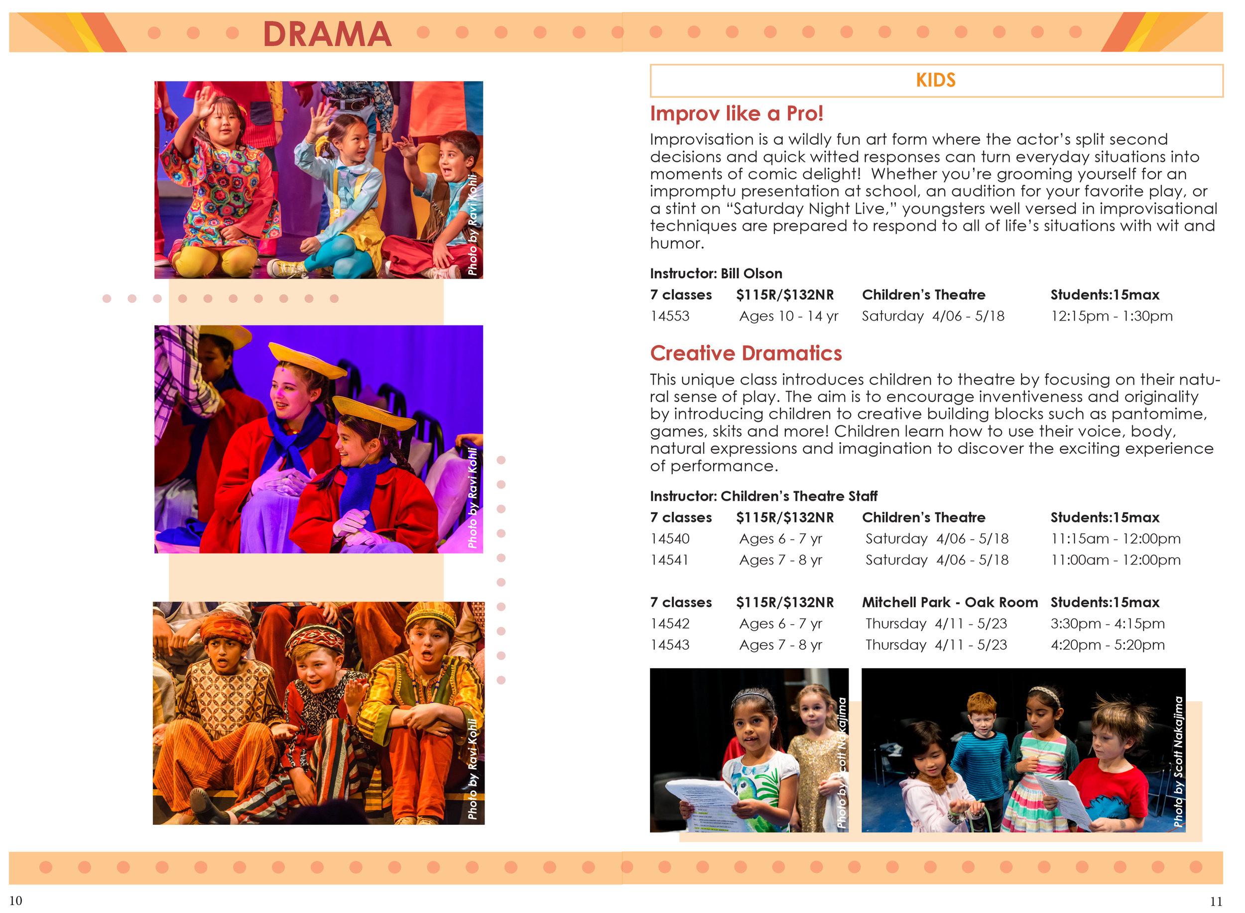 Spread for Palo Alto Children's Theatre Spring Catalog