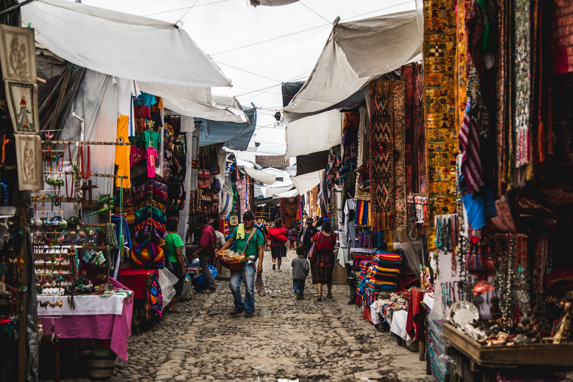 One of the many aisles of the market at Chichicastenango.