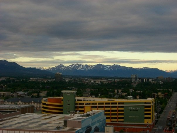 Midnight, viewed from our hotel room, overlooking the JCPenney Parking Garage in Anchorage.