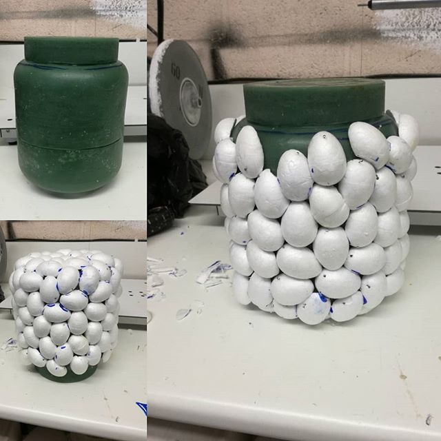 A new model underway for what will be an interior space (in a cast piece). I'm getting into the swing of easter - polystyrene eggs galore.  #mastermodel #mouldmaking  #waxmodel  #polystyrene  #glasscasting  #lostwaxcastingprocesses  #handmade  #studioglass  #eastereggs