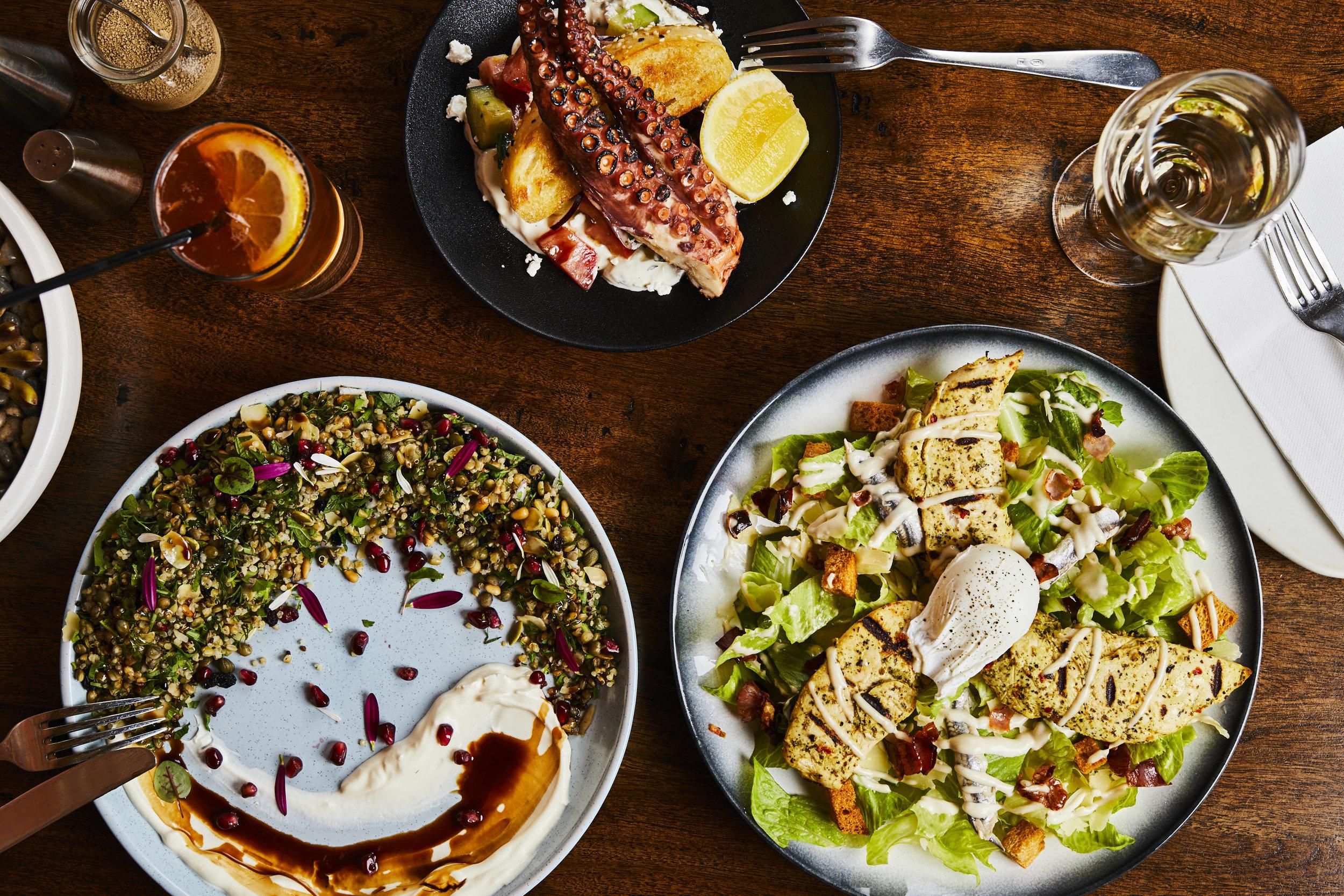 Ancient Grain, Chicken Caesar Salad, Grilled Octopus