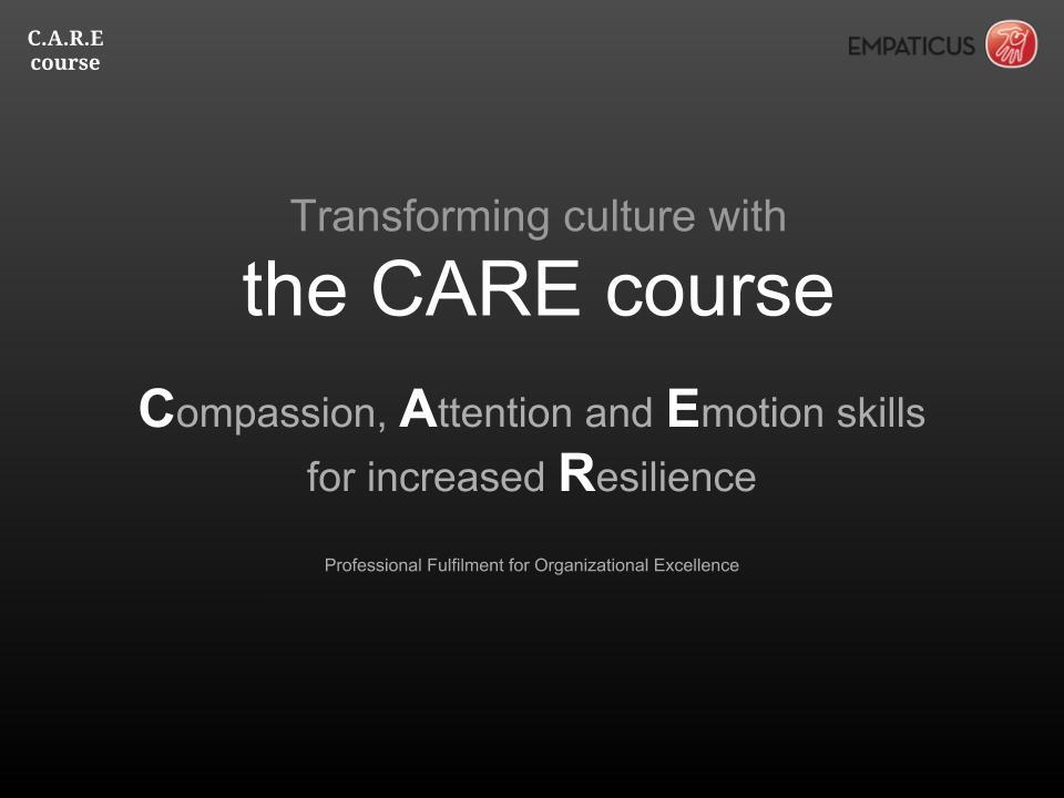 - Finding joy at work through CAREProject CARE utvecklades på uppdrag av Chalmers CSE för att arbeta med kultur och höga stressnivåer på institutionen. Projektet pågår och omfattar ett tiotal kurser, lika många introduktionsföreläsningar samt några sessioner av kompetensutveckling för ledningsgruppen. CARE är en förkortning av de olika färdigheter som projektet syftar till att vässa hos deltagarna. Fokus, Känslofärdigheter och Medkänsla för ökad Resiliens.
