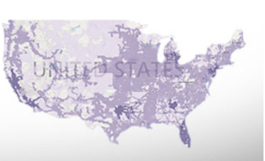 A map of MetroPCS coverage. the lightest shade of purple indicates voice roaming while the darker purples indicate data availability.