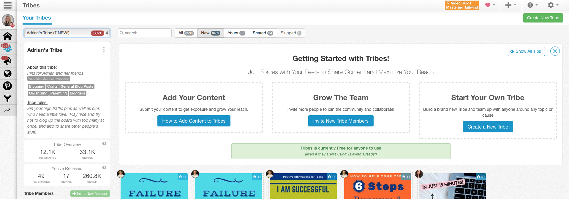 Tailwind Tribes dashboard. Look at the reach you get by pinning to the tribes. This is part of the reason why Tailwind can be such a valuable asset.