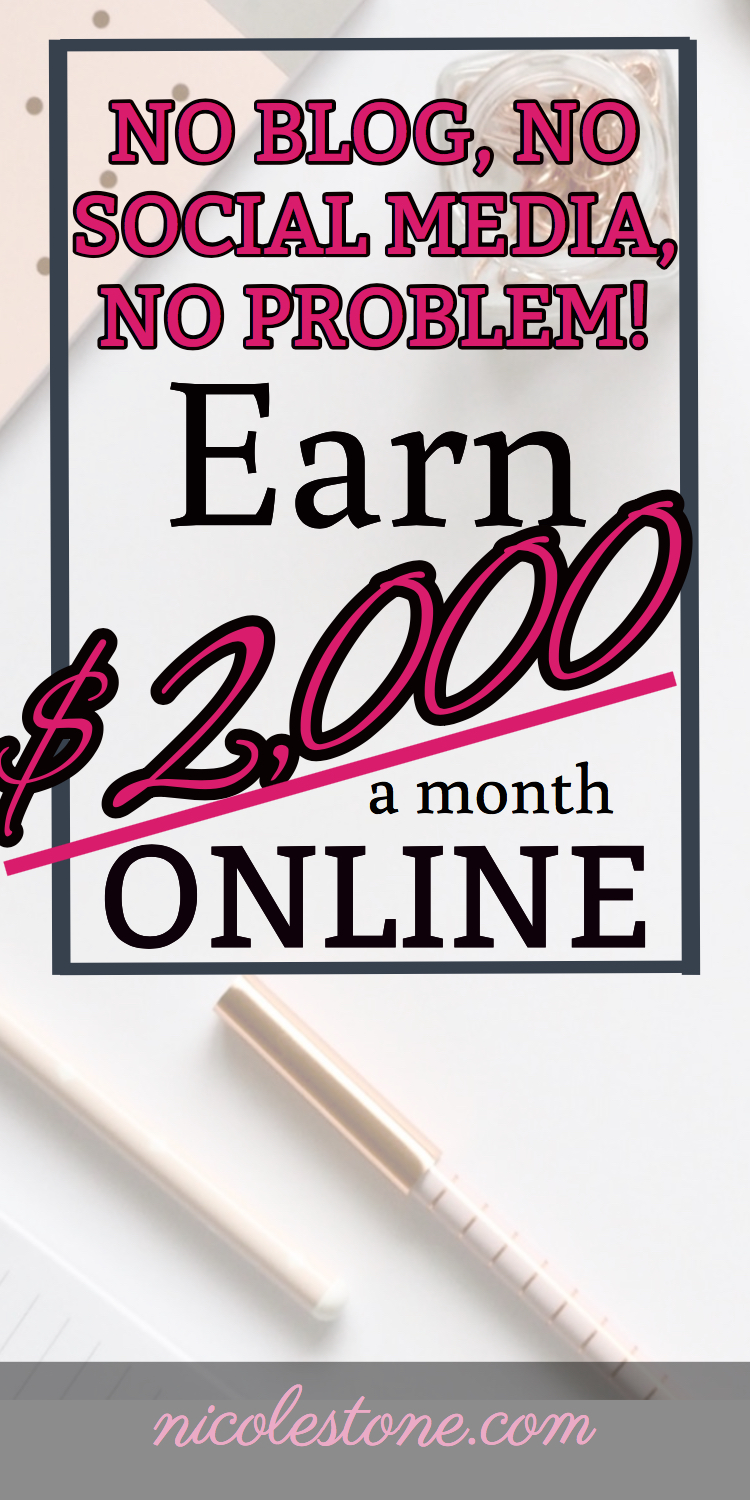Make over $2,000 a month! No blog, social media, or virtual assistant experience needed! Work from home now! Click through to learn more! #makemoneyonline #workathome