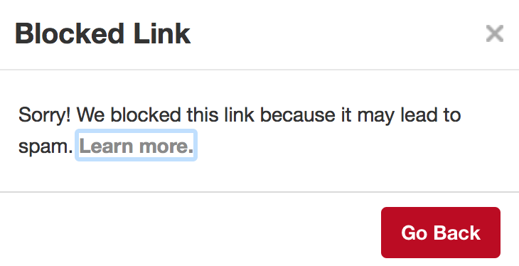 pinterest account suspended: The dreaded message I received when Pinterest blocked my website.
