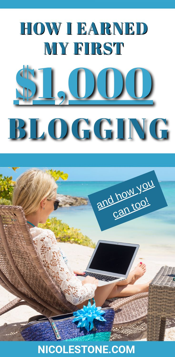 How I made my first $1,000 blogging and became a full-time blogger. I go through my story as well as my exact process on how I earned my first 1,000 that turned into a full-time career! Learn how to earn money online. #blogging #earnmoneyonline #makemoney
