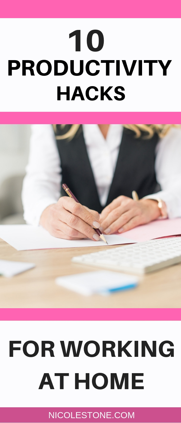 10 Productivity hacks you need to know to be more productive when working from home! #productivity #timemanagement #makemoneyonline #workathome