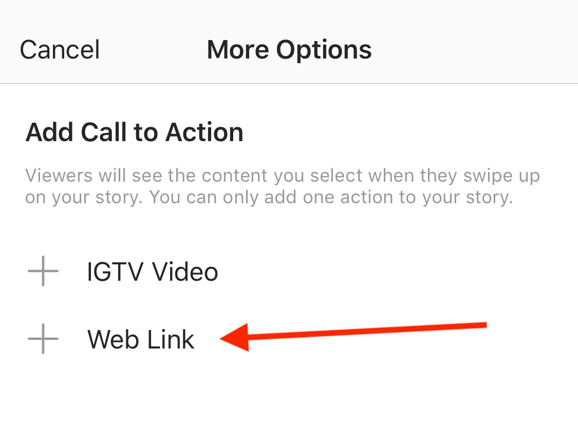 Add your call to action to add a link to Instagram stories.