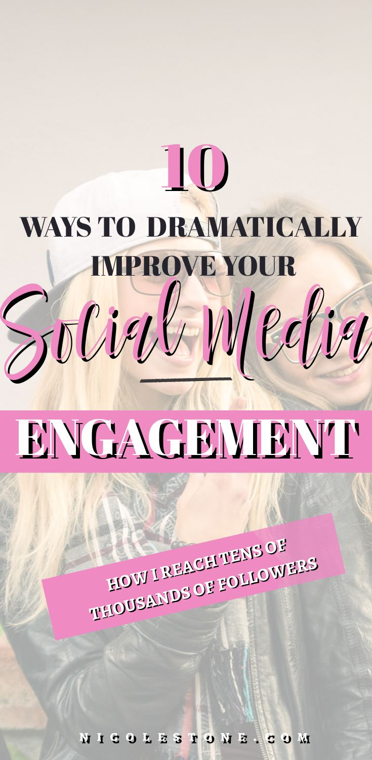 Social media engagement got you down? Learn wow to drastically increase your social media engagement, with 10 simple to follow tips! Works for Instagram, Pinterest, Facebook and Twitter (and even YouTube!) #socialmedia #socialmediatips #marketingtips #Blogging #blog #blogtips