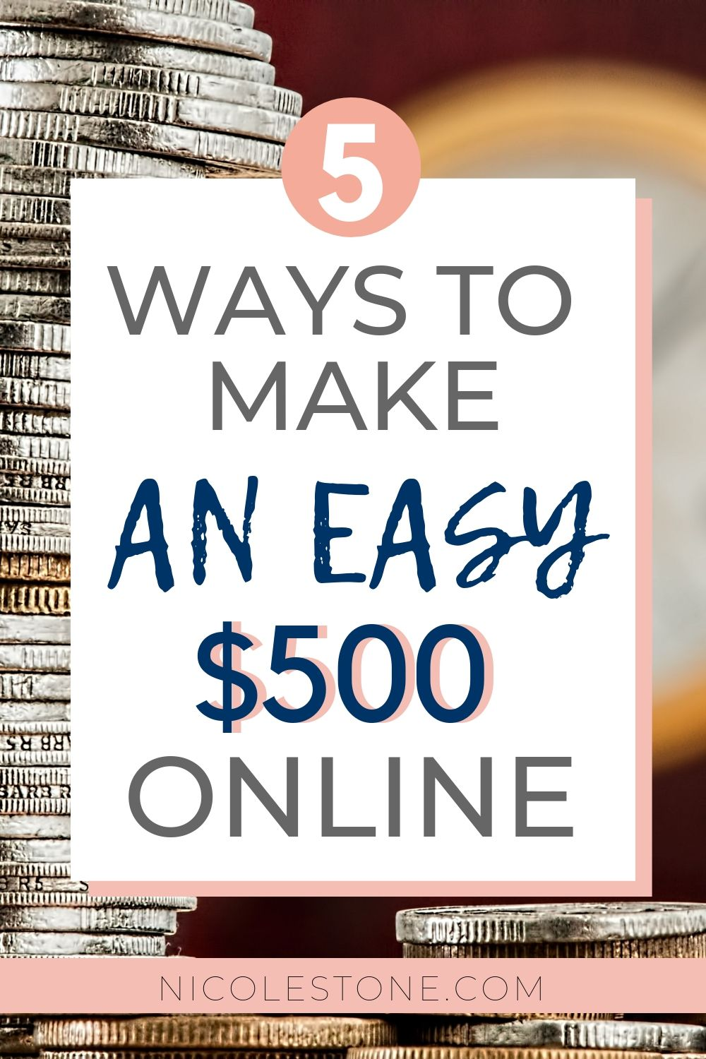 Learn 5 ways you can make an extra money online working at home. These money making tactics are easy to follow, quick, and can get you some extra cash in no time. #makemoney #earnmoney #money #workathome #income