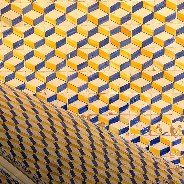 #tile #design #abstract #reflection #yellow #blue #white #repetition