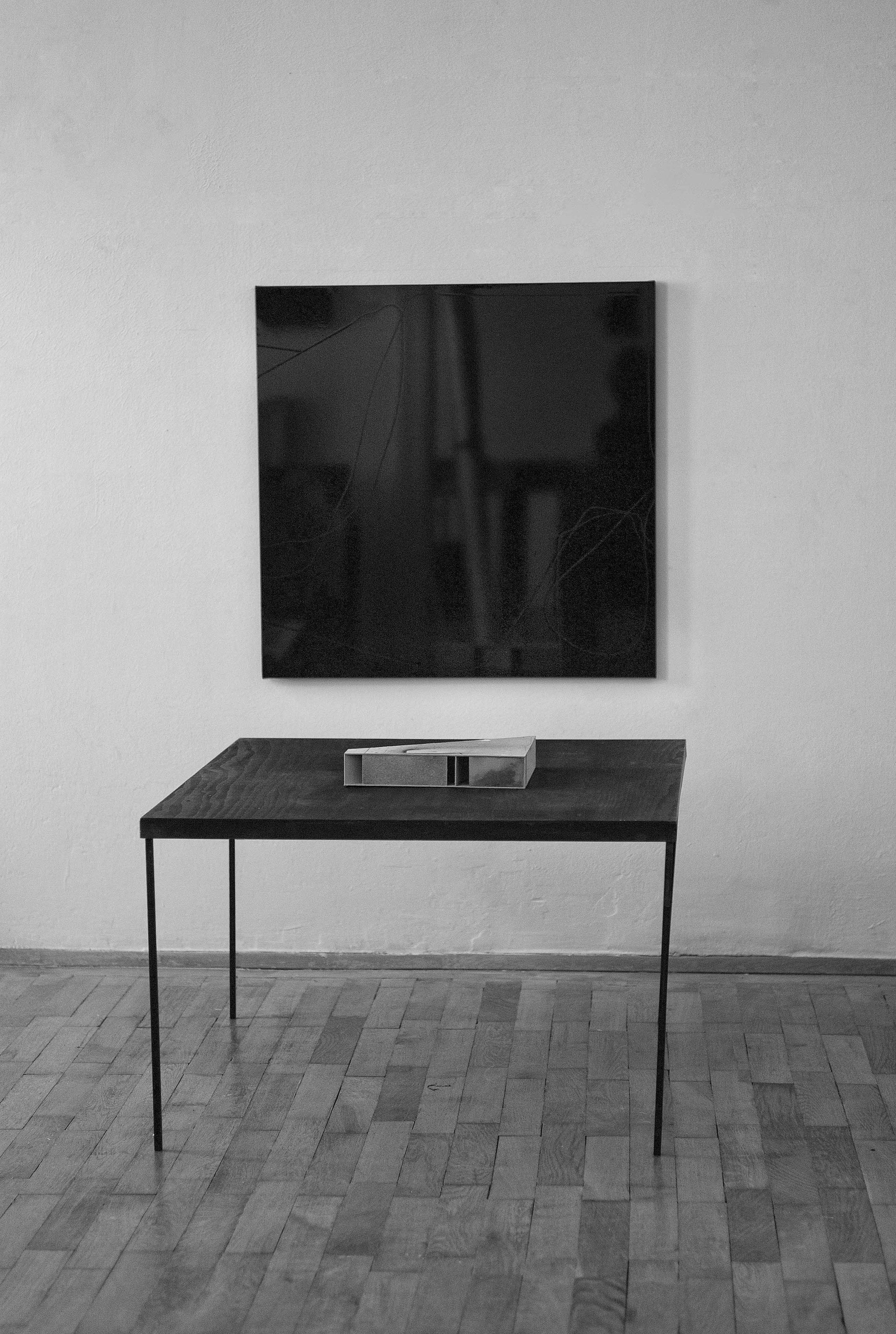 untitled, 100 x 102 cm,  vinyl on pvc, 2015, casette plywood oilcoloured, on casette: model, cardboard, Crayon Derwent, Ponal,