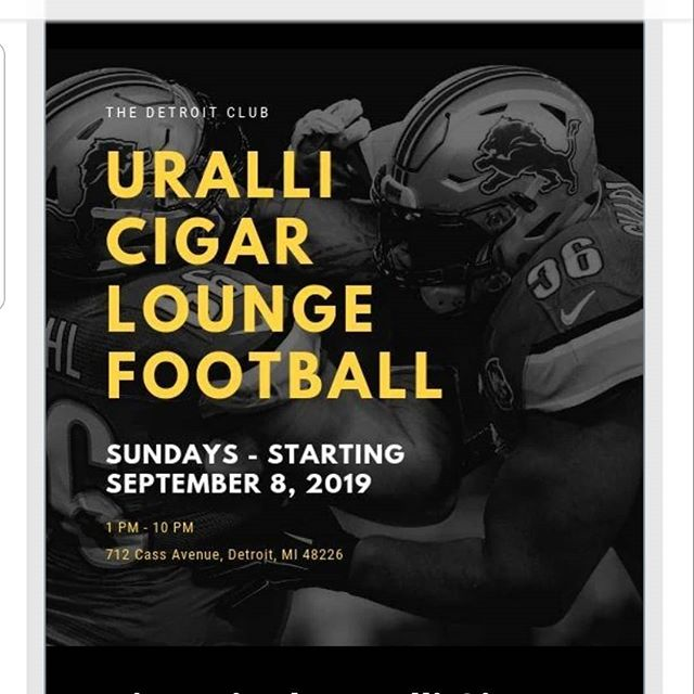 We are open for football season!! @spirits_counselor will be there every Sunday to serve up cocktails and cigars!  #cigarbar #cigarlife #uralli #detroit #detroitclub #footballsundays #cocktailsandcigars
