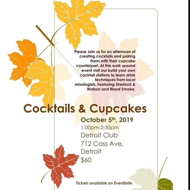 We are doing big things in October! We are teaming up with Good Cupcakes Co on Oct. 5 for Cocktails and Cupcakes! Come learn how to make some great fall cocktails paired with some delicious boozy cupcakes! Then on Oct. 12 we are hosting an inebriated reading with Shakespeare In Detroit, a cocktail and a reading of The Scarlet Letter. These events are going quickly! Gets your tickets on Eventbrite now!!