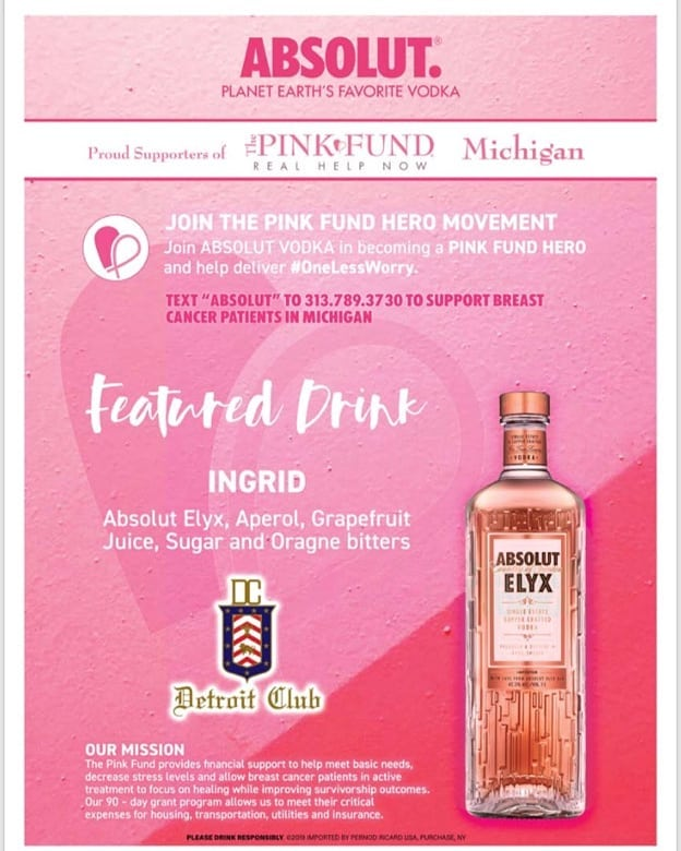 We are excited to announce that for the entire month of October we are partnering up with @thepinkfund to raise breast cancer awareness!  We will be featuring a limited cocktail menu through out all our food and beverage outlets. Absolut is bringing countless ways to become A Pink Fund Hero and help deliver #onelessworry . Join us and become inspired to help bring financial support to those in active treatment.  #onelessworry #detroit #breastcancerawareness #pink #thinkpink #pinktober #fightwithpink #strongertogether