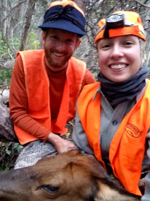 Brent and Rose Walker after finding and tagging her first cow elk.