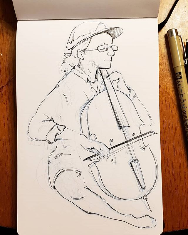 Cleaned up a sketch from an impromptu music-making session. - Took a trip last weekend and I'm still figuring out how to process all the kindness, compassion, and purpose I found in a small town buried in the mountains. When all I was expecting was one familiar face, I found twenty more.  #sketch #sketchbook #illustration