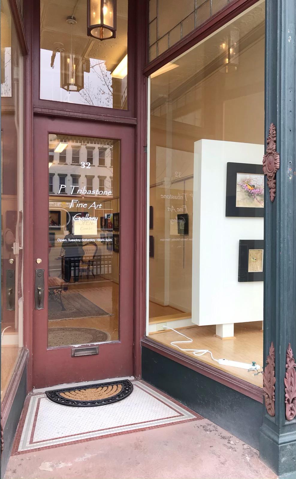 Front door of the gallery with Nancy's work in the front window.