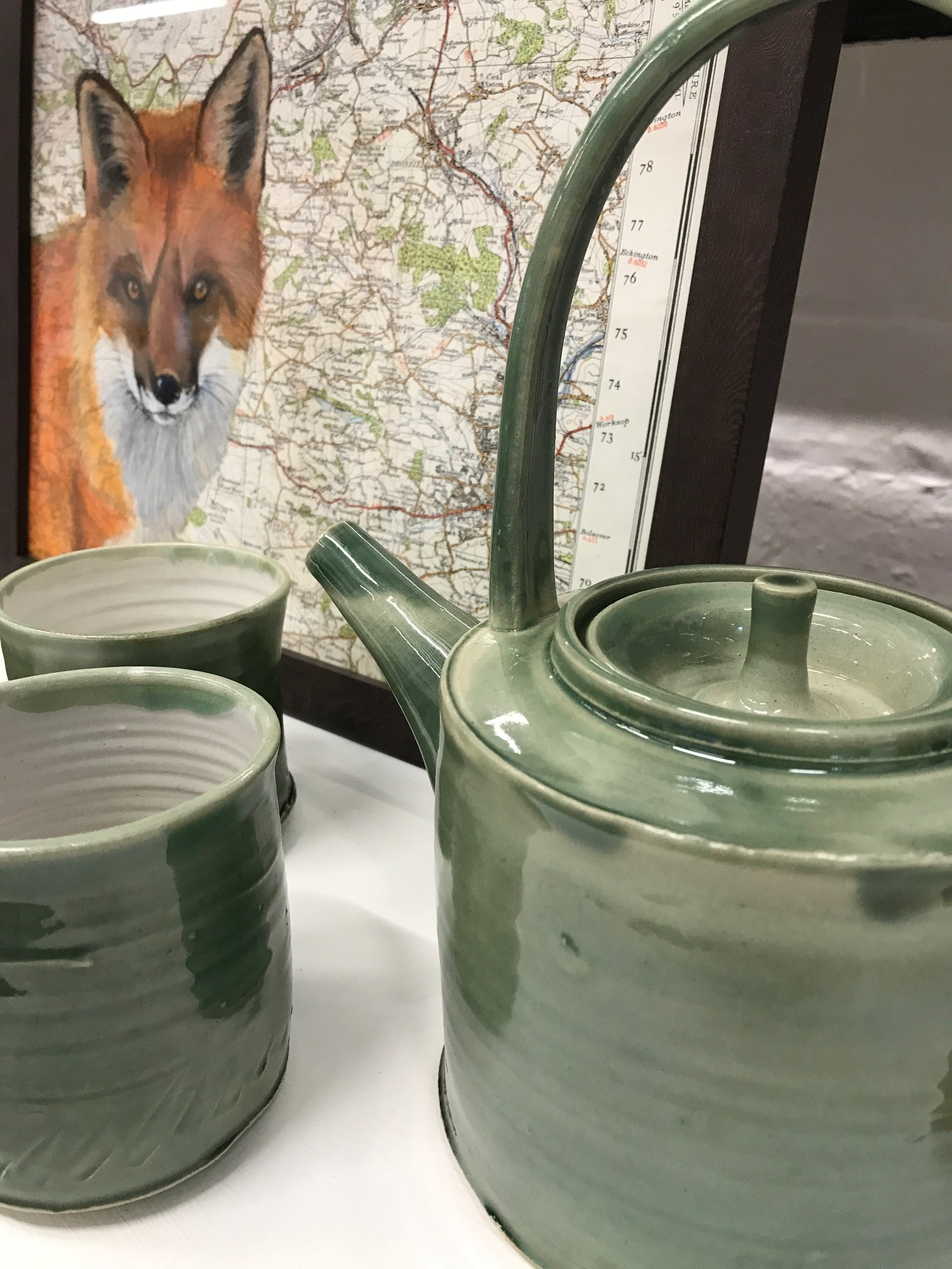 Fox by Frances Daunt and Tea Pot by Peter Swailes