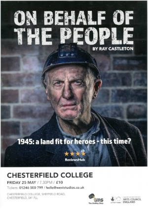 The poster for 'On Behalf Of The People', the first play to perform in the College Theatre.