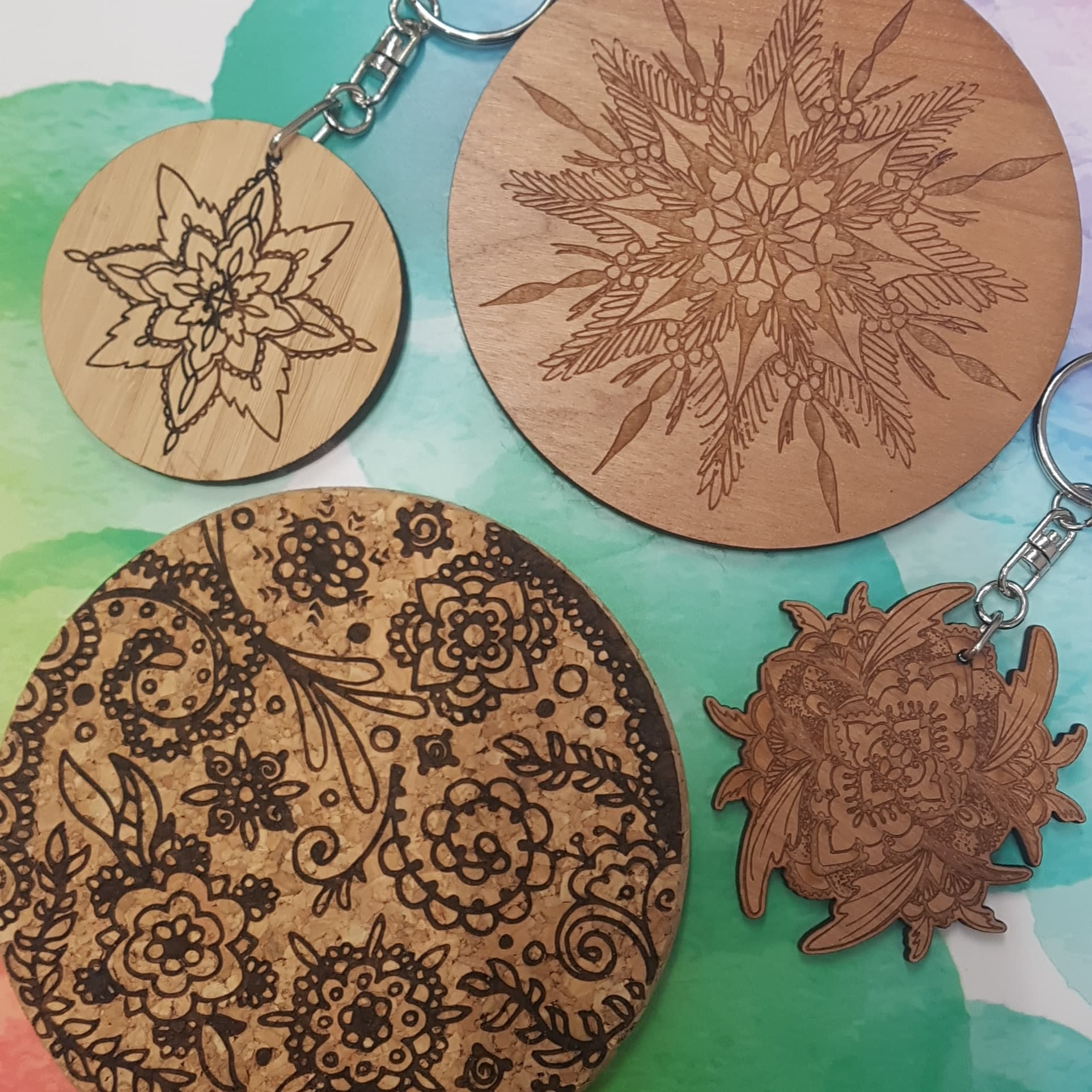 Laser cut keyrings and coasters from £4.99 in our Gallery Shop.