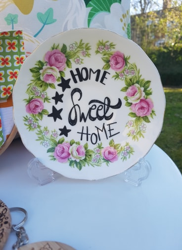 'Home Sweet Home' Upcycled Plate by PIxie Drew, £10
