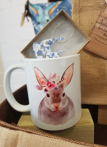 Floral Swallow Necklace by Beams and Bobbins, £9  Bunny Mug by Drawn with a Pencil, £7.45