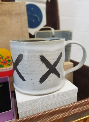 White Mug with Platinum Crosses, Peter Swailes, £15