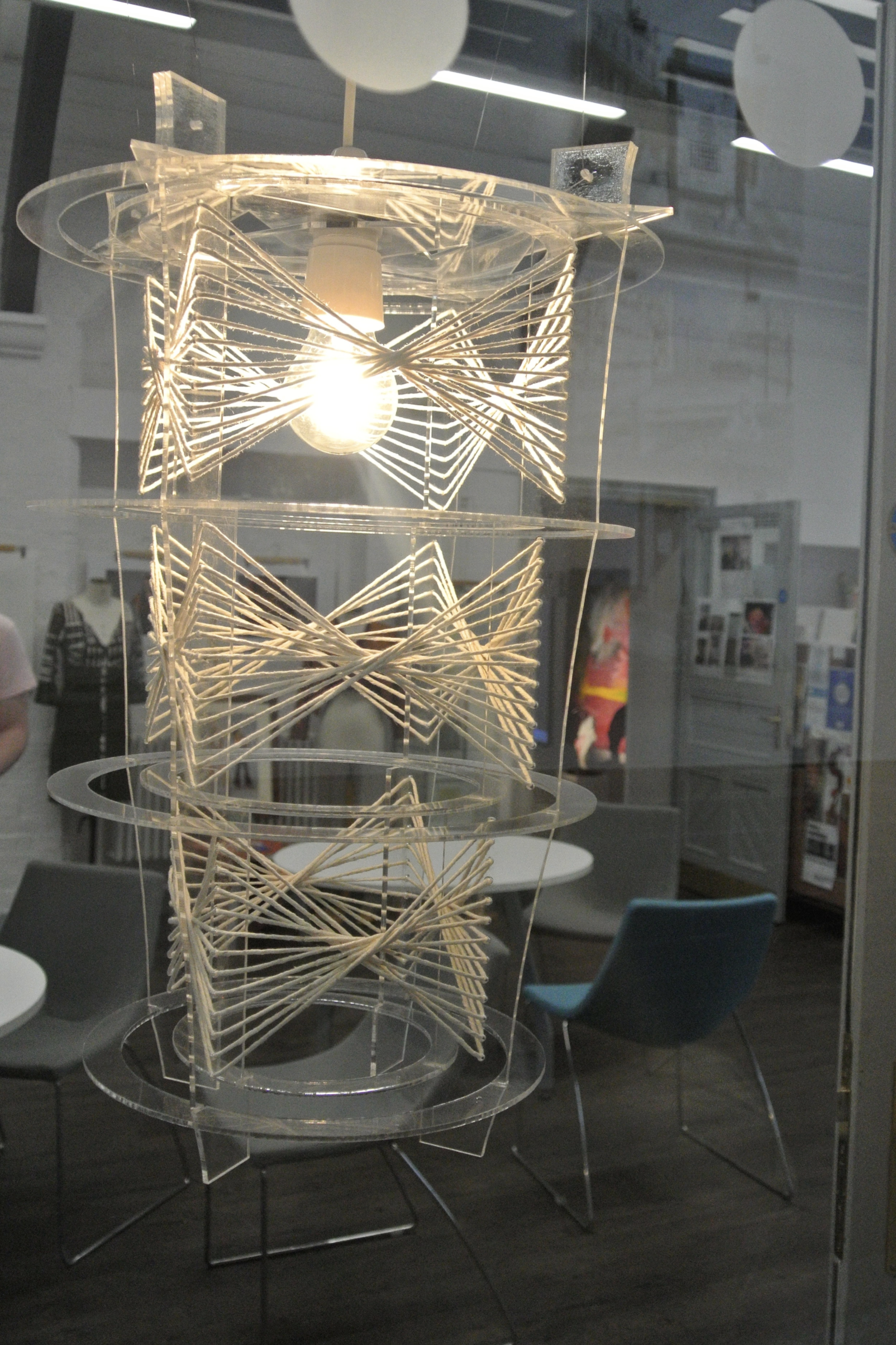 Isobel Wallace, L3 yr 1 Art & Design - SCULPTURAL CHANDELIER MADE FROM UNDYED STRING AND CLEAR ACRYLICFUTURE PLANS: CONTINUING ON TO YEAR 2 OF ART AND DESIGN LEVEL3 AT CHESTERFIELD COLLEGE