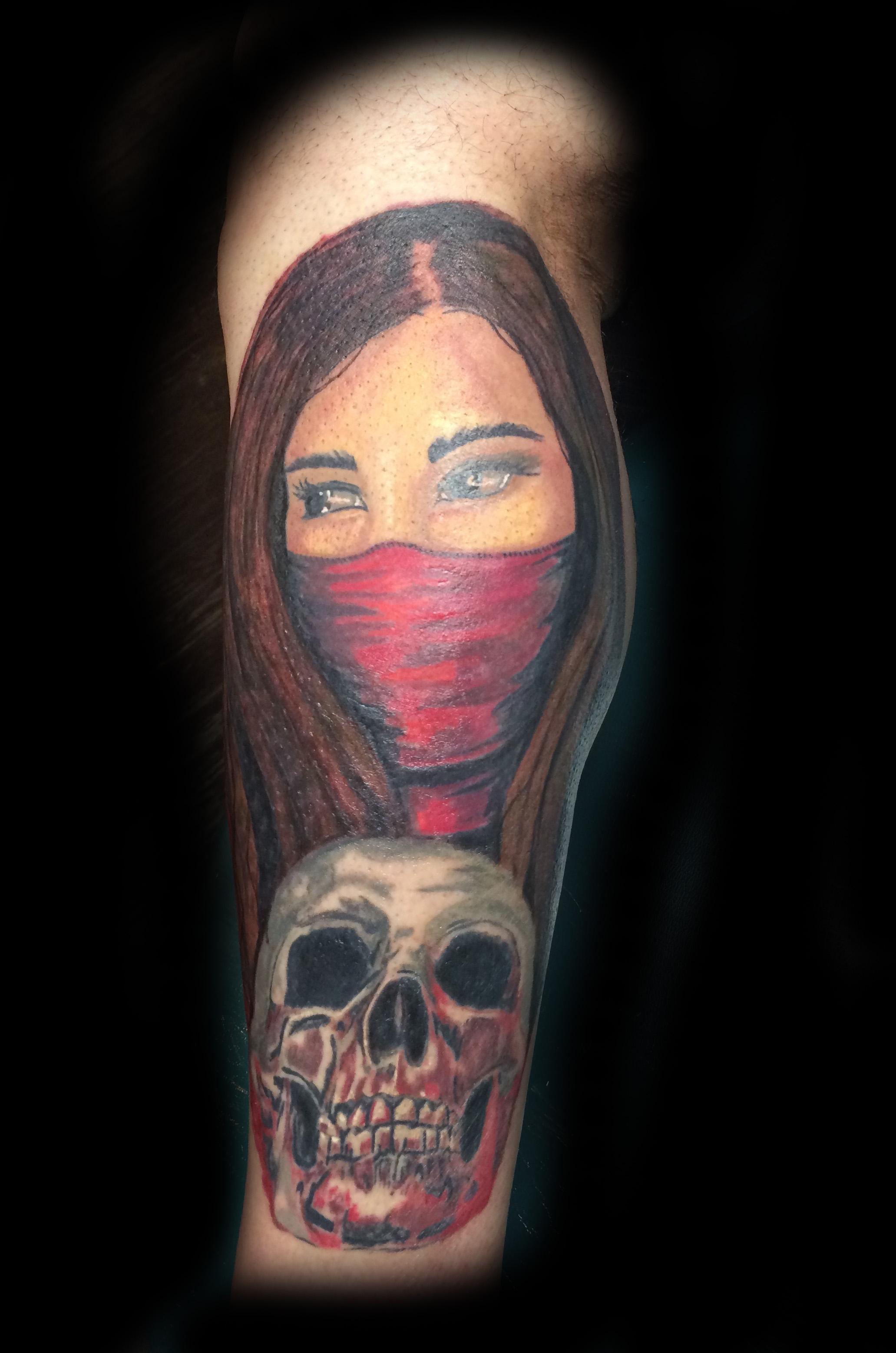 Skull and Woman Tattoo