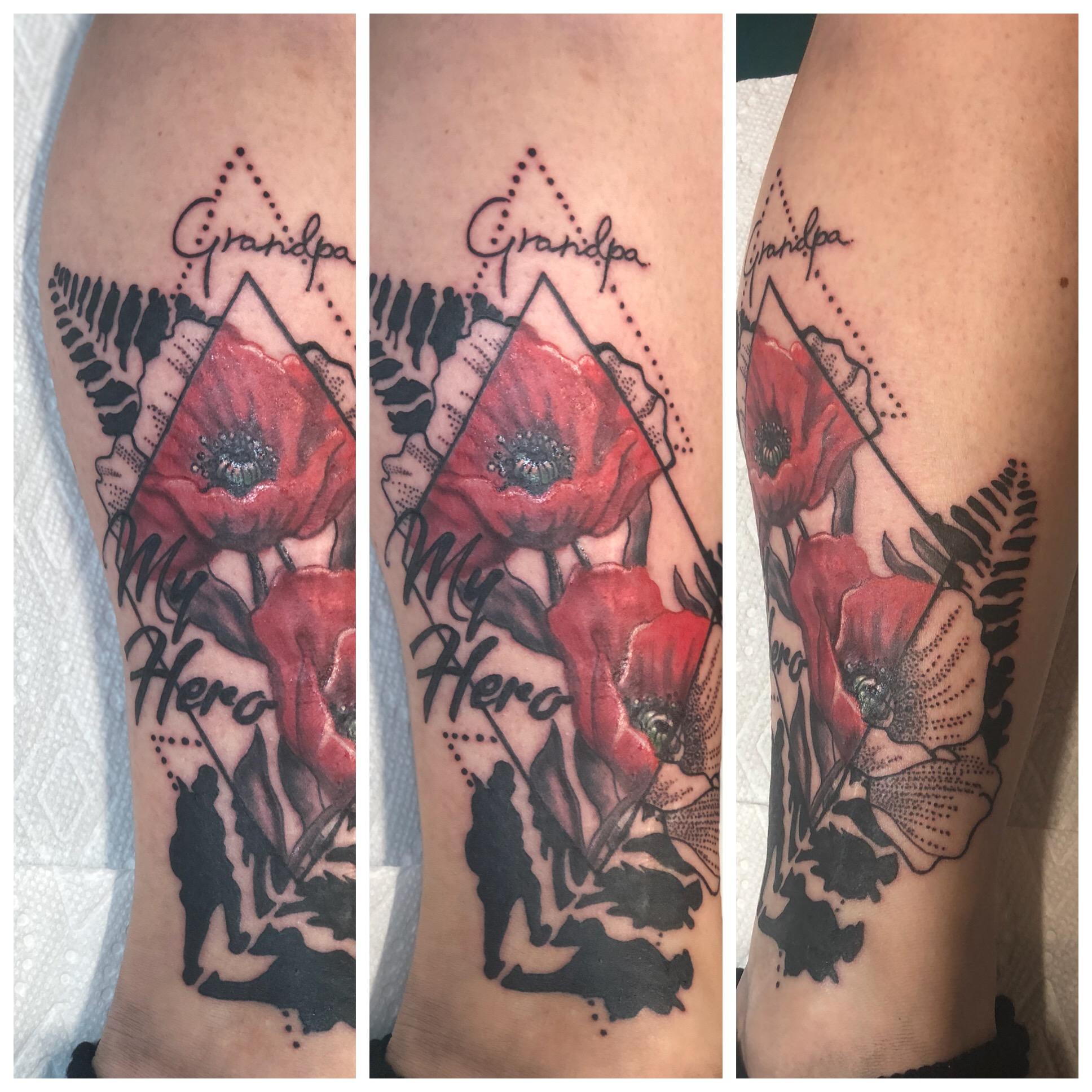 Geometric and Realistic Poppy Tattoo