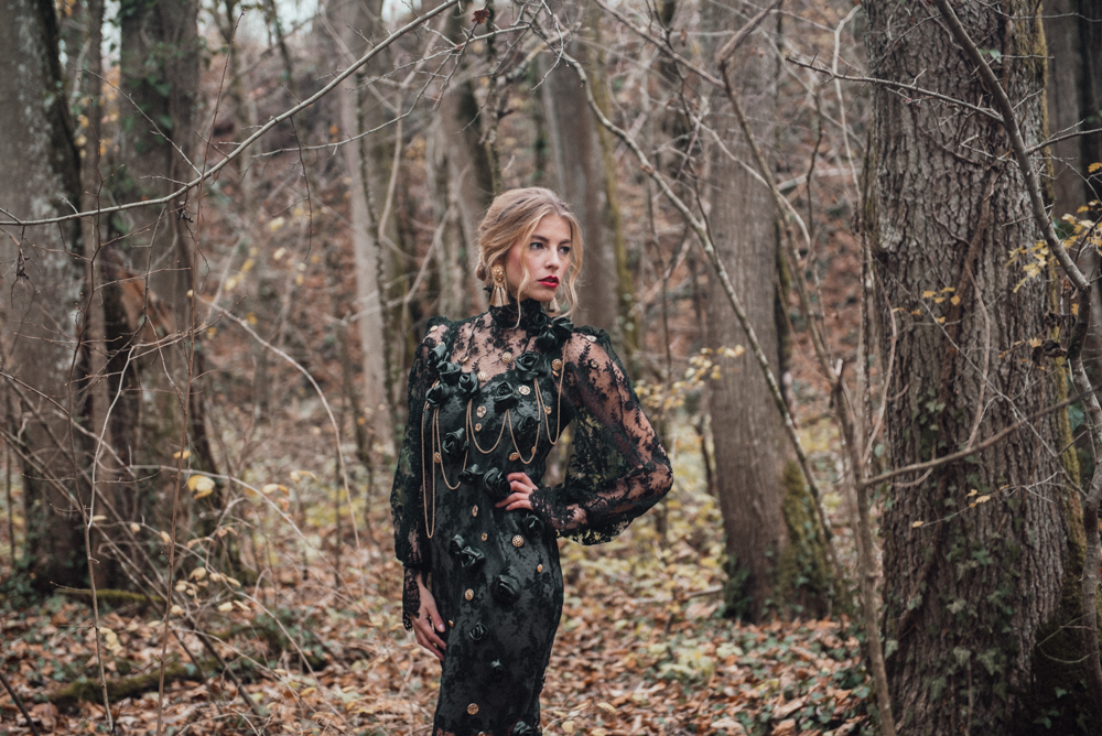 Going Back To My Roots // Olivia Bossert Photography // www.oliviabossert.com // fashion photography, fashion editorial, dolce and gabanna, switzerland, cornwall, photographer, flowers, forest, dark dresses, elegant dresses, lace dresses, blond girl, model