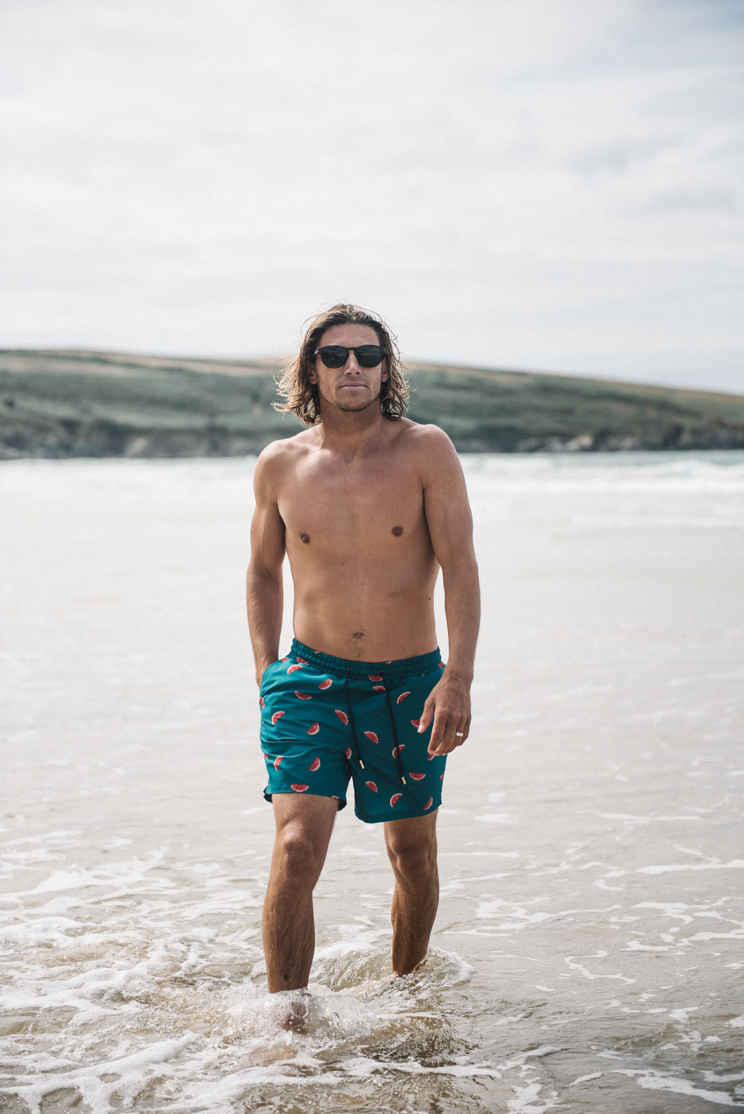 Shooting for Mangata London in Newquay // www.oliviabossert.com // surf photoshoot, menswear photoshoot, mens swimwear photoshoot, surfer, alan stokes, cornwall photoshoot, cornwall beach, male model, uk photographer, uk fashion photographer, cornwall photographer