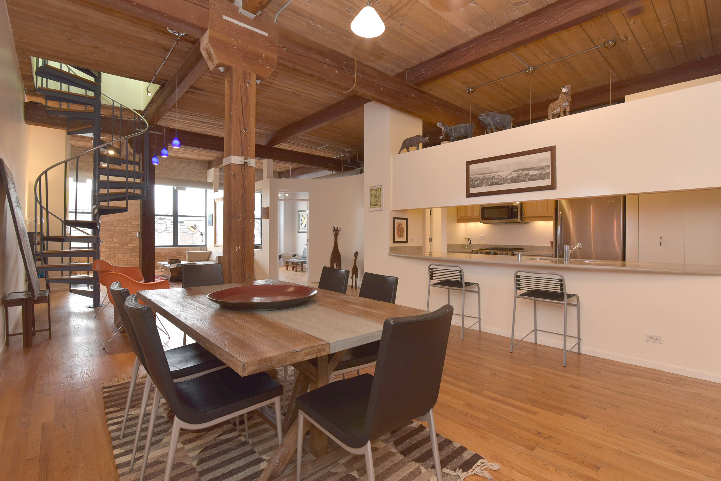 Overall view of a unique loft space in Bucktown.