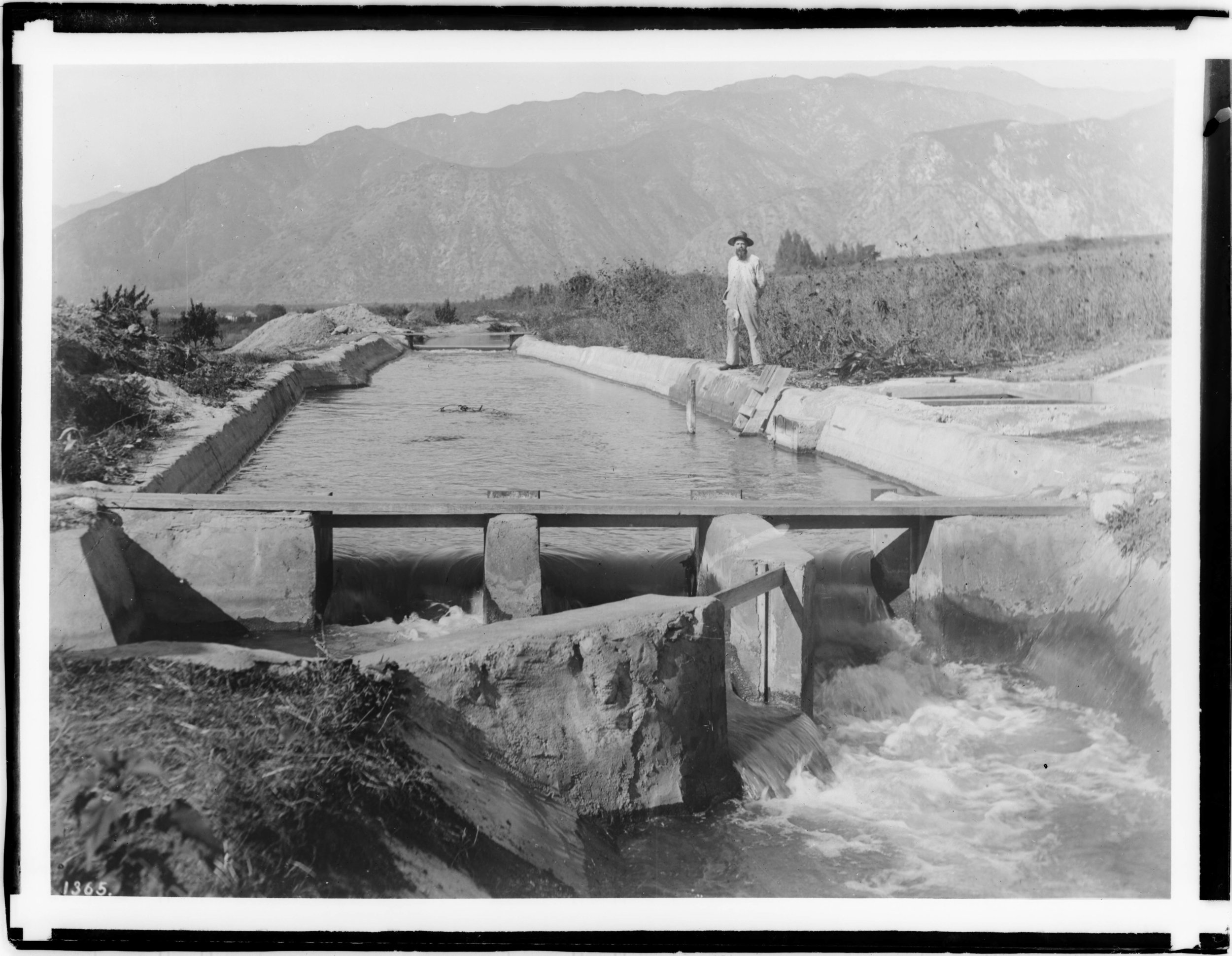 Figure 2: Main irrigation ditch in the San Gabriel Canyon, ca.1900