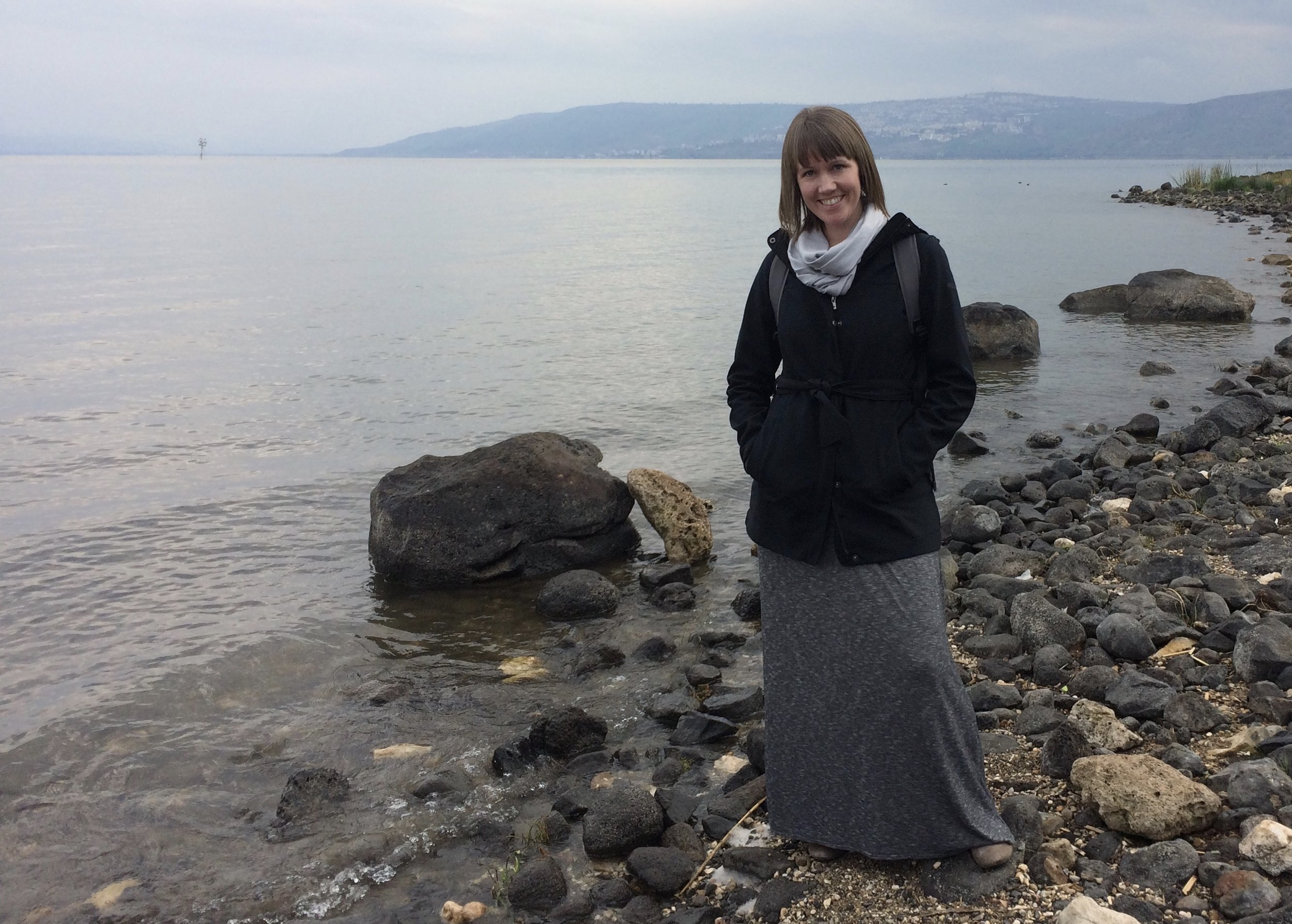 Marie on the shore of the Sea of Galilee