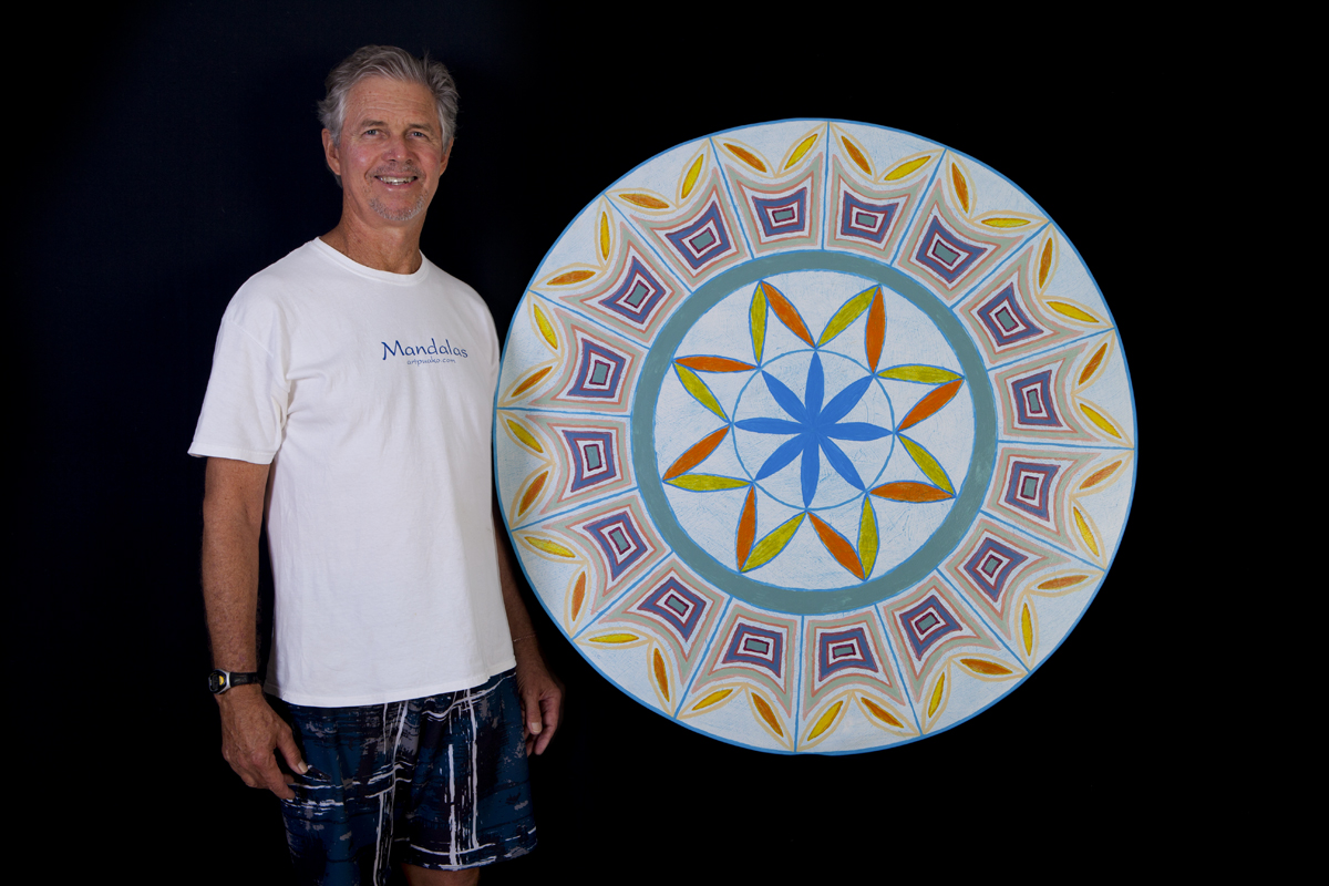 """Frank with one of his favorite Mandala's """"Eternal Delight""""."""