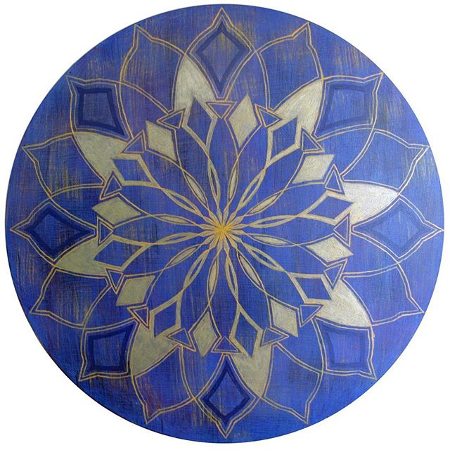 """A mandala for your Monday. This one is named """"Rejoice"""", is 36"""" in diameter, done with acrylic on wood. #mandalamonday #sacredgeometry #puakoinmotion"""