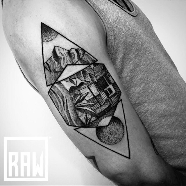 RAW: Tattoo. Awesome geometric and dot work from @therawcanvas artist @meloratattoos done here in @downtowngj @westslopebestslope!