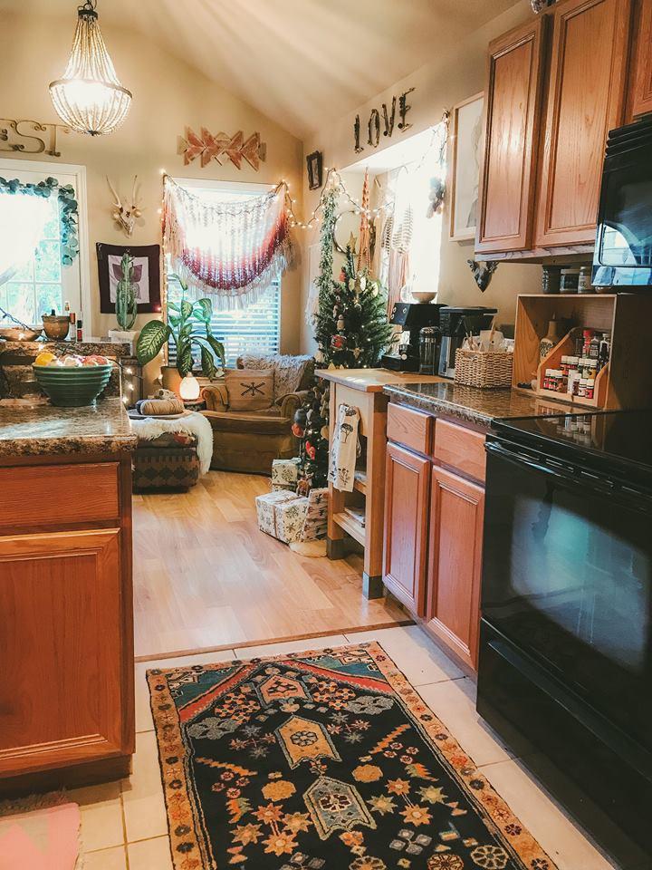A boho kitchen rug