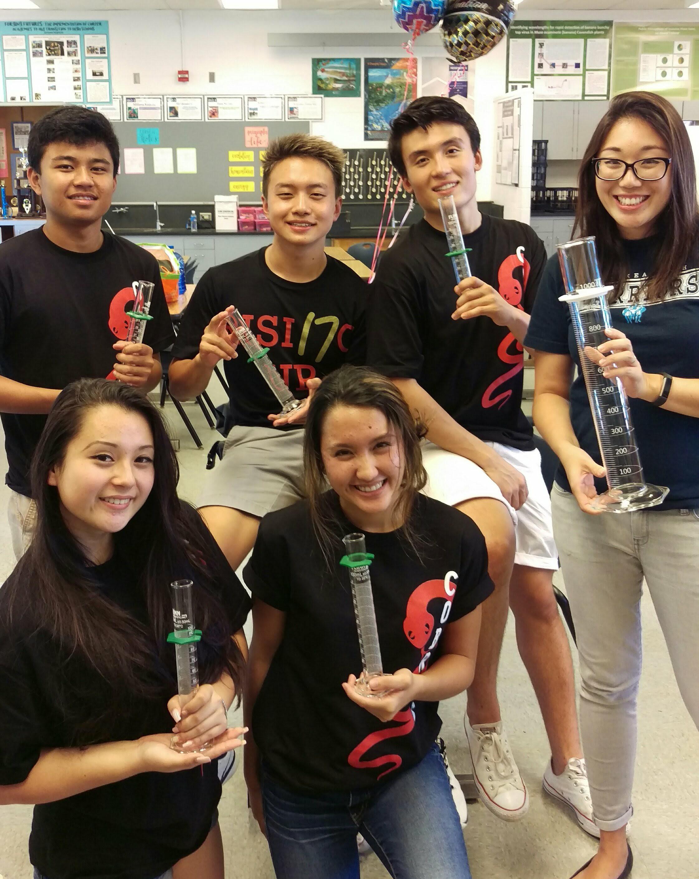 Graduated seniors from Waiakea High's Career Academies. Mrs. Aragaki teaches an AP Research course for seniors.