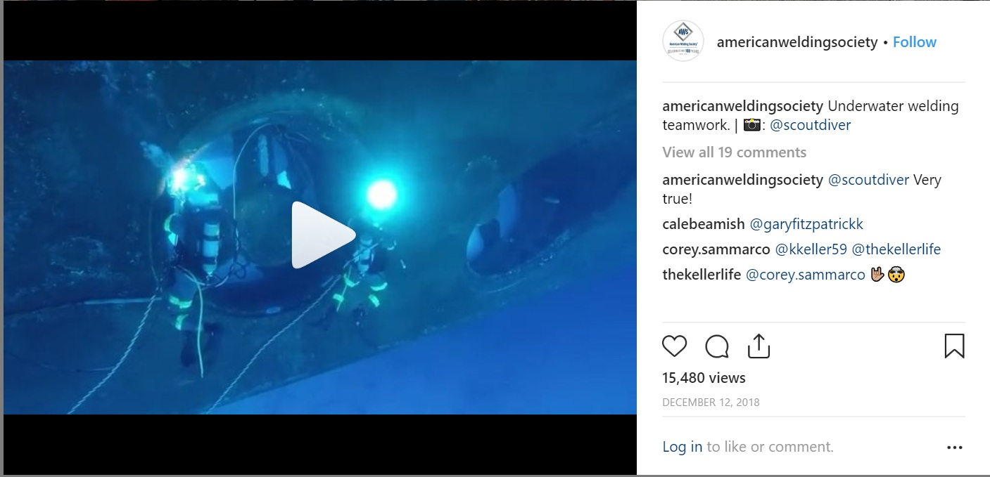 The American Welding Society engage their Instagram followers with interesting images and videos of welding.