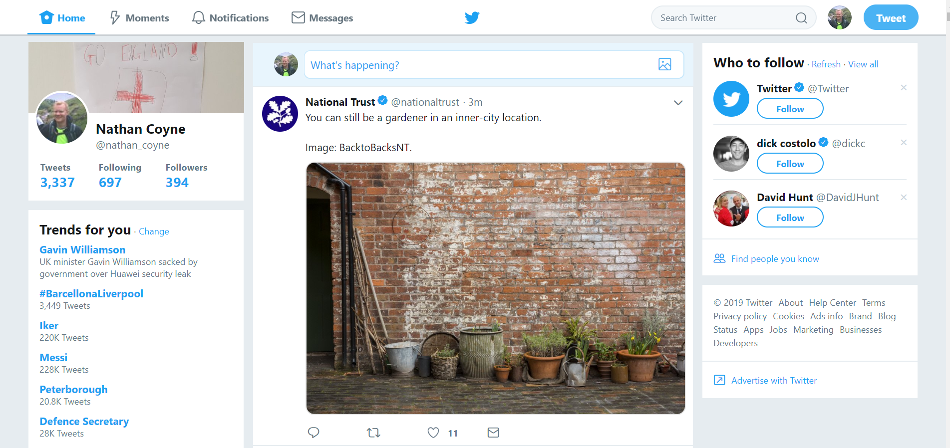 Current desktop Twitter