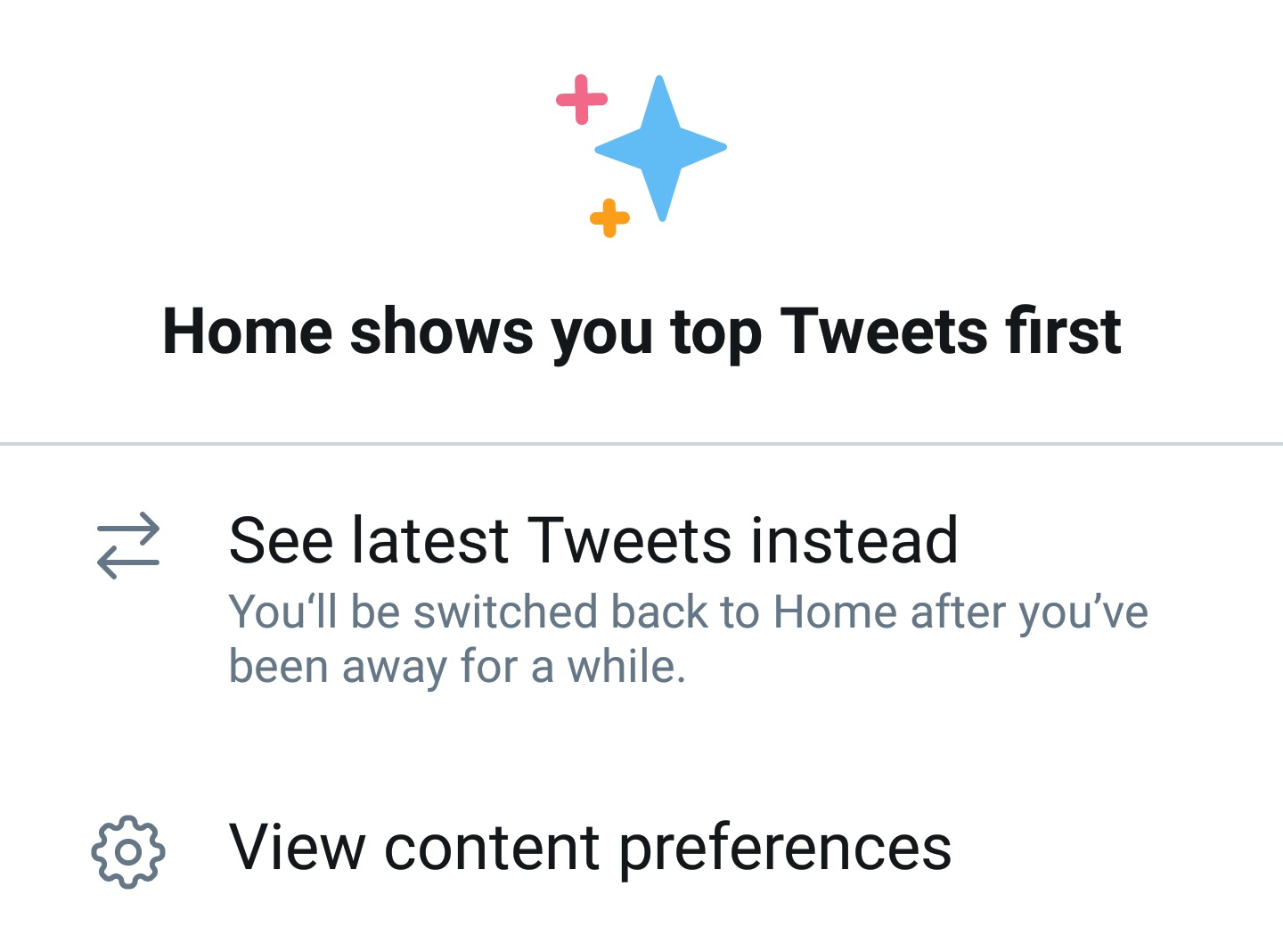 Click 'See latest Tweets' instead to revert to the chronological timeline