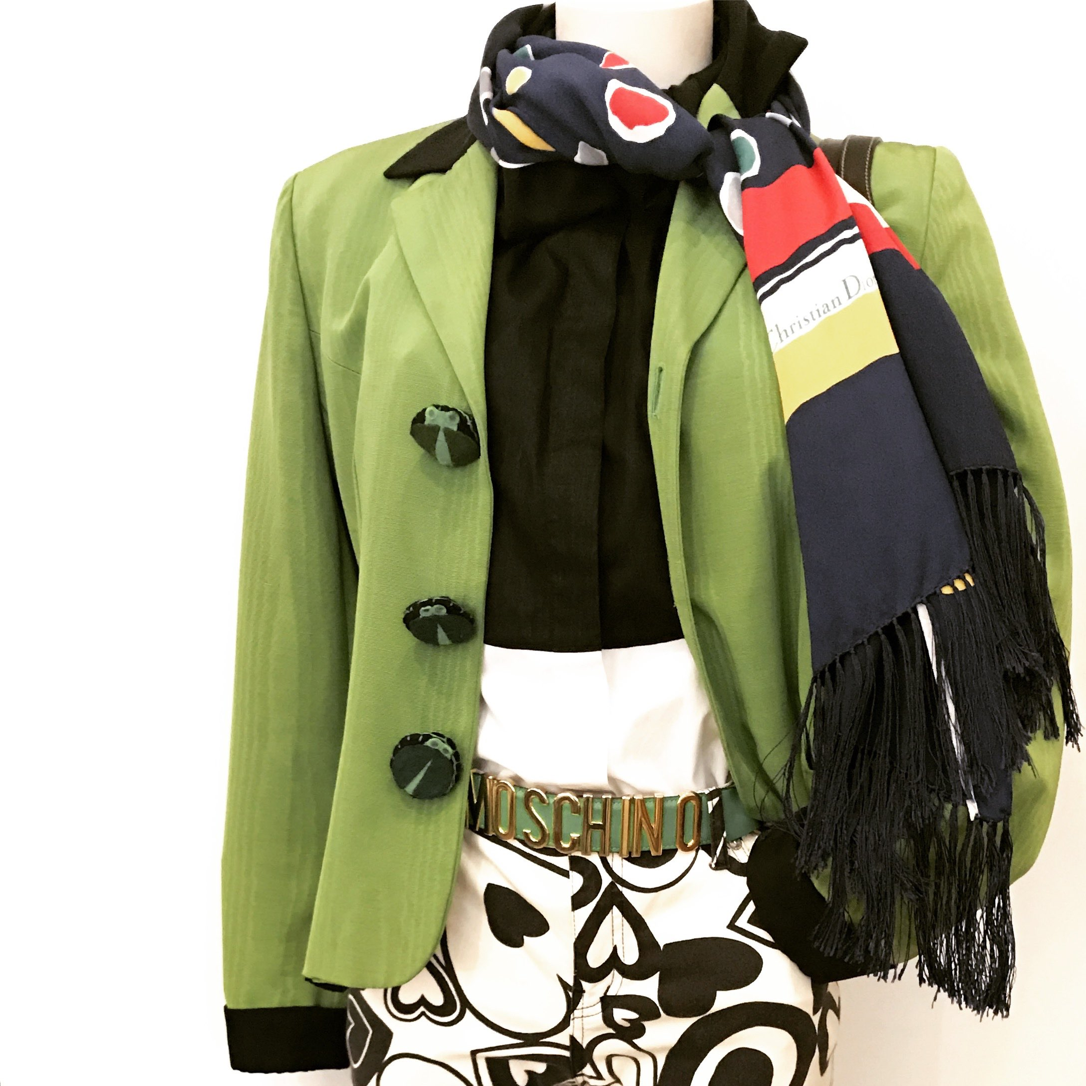 Moschino frog button jacket w Moschino trousers and Belt